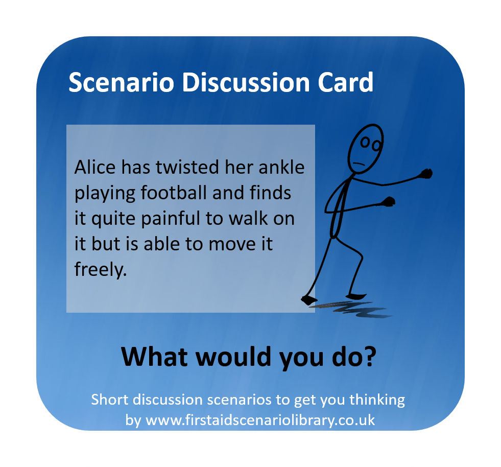 Twisted ankle first aid scenario card
