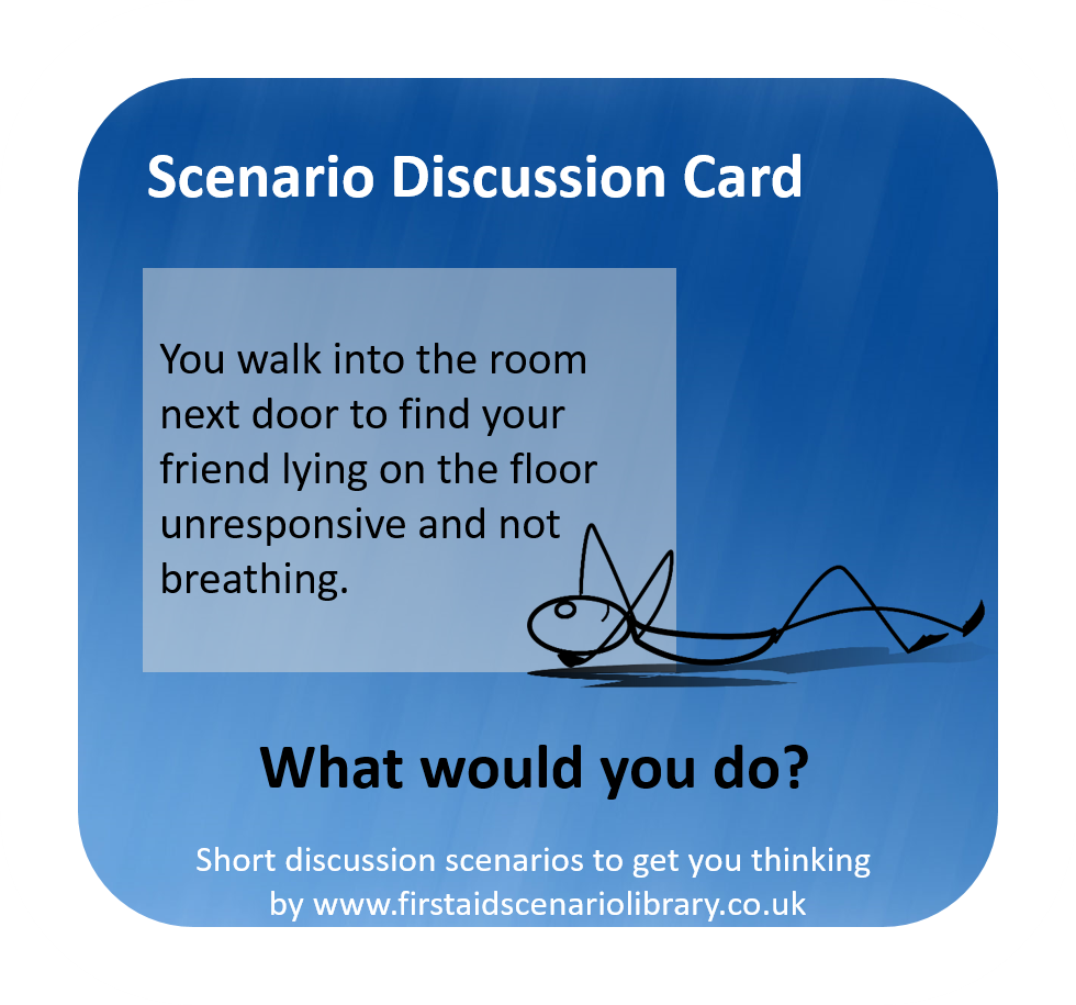 Unresponsive and not breathing first aid scenario card